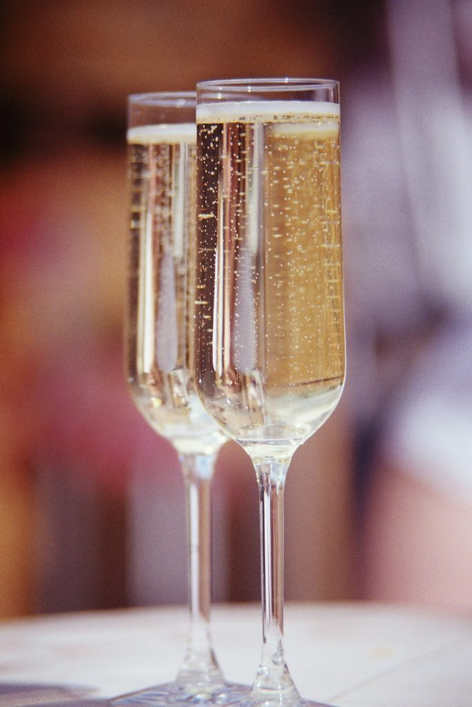 Close-up of two glasses of Prosecco